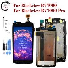 شاشة عرض LCD مقاس 5 بوصات بإطار لـ Blackview BV7000 BV 7000 Pro شاشة عرض تعمل باللمس مع محول رقمي للتجميع BV7000pro شاشة أندرويد 7.1
