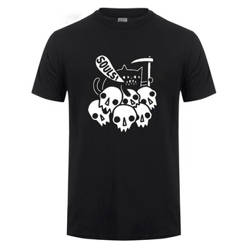 Death Cat Got Your Soul Skeleton T Shirt Funny Birthday Present For Men Brother Boyfriend Cotton T-shirt Tshirt Man's Skull Tee your slave our brother