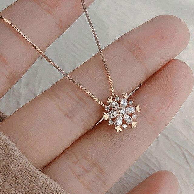 Xiyanike atacado 925 colar de prata esterlina para as mulheres na moda elegante zircão floco de neve pingente clavícula corrente jóias presente