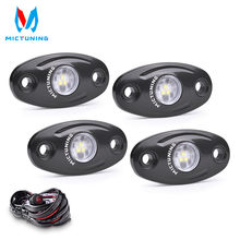 MICTUNING LED Rock Light 4 Pods White Waterproof LED Neon Underglow Light with Wiring for Car Truck ATV UTV SUV Offroad Boat
