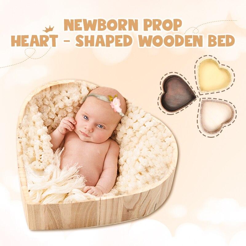 Nouveau-né accessoires pour la photographie en forme de coeur bois lit nouveau-né photographie lit posant canapé Studio tir accessoires moises para bebe