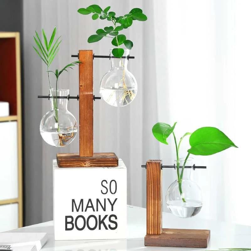 Clear Glass Vase Table Decor Hydroponics Plant Bonsai Flower Pot w// Wooden Tray