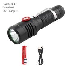 USB Charging Flashlights powerful flashlight 18650 battery waterproof outdoor camping hiking 1600LM 10W L2 high power flashlight цена