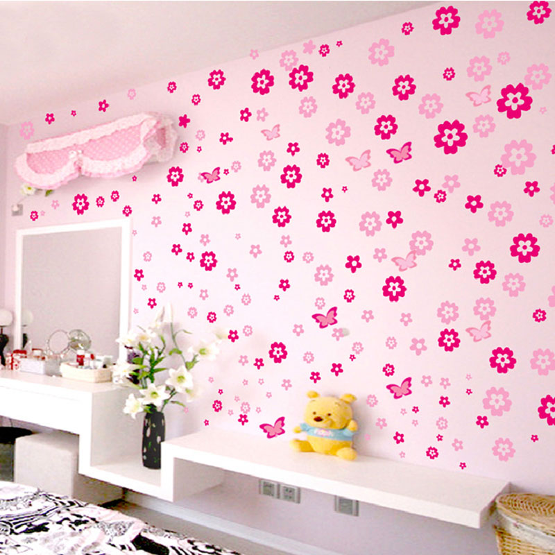 108pcs Flowers And 6pcs Butterfly Wall Stickers Living Room Bedroom Art Decals Home Decoration Furniture Stickers Baby Nursery