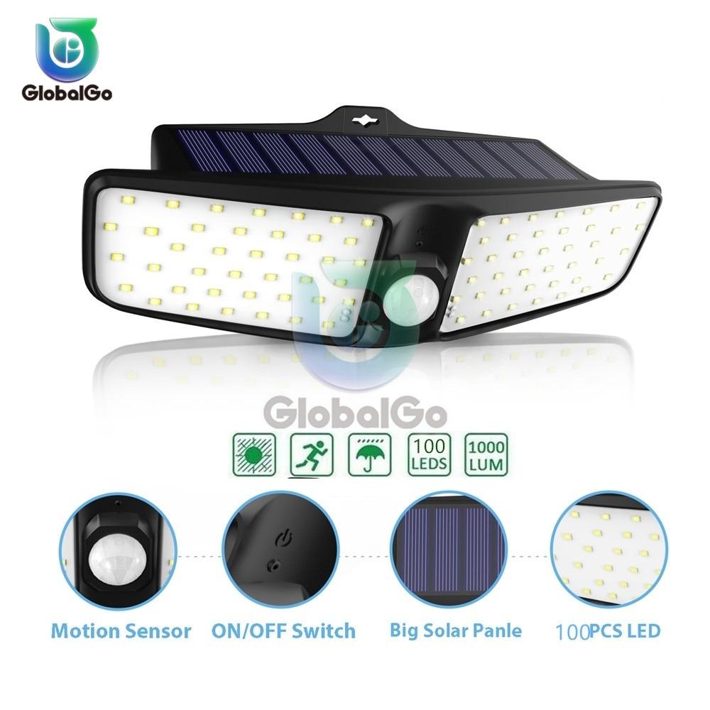 100 LED Solar Light Outdoor Waterproof Double Head Solar Sunlight Powered Lamp PIR Sensor Wall Light For Home Garden Pool Decor