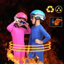 Зимний детский комплект термобелья для катания на лыжах, Быстросохнущий дышащий Теплый детский комплект спортивного нижнего белья для катания на сноуборде, лыжах, спортивный костюм