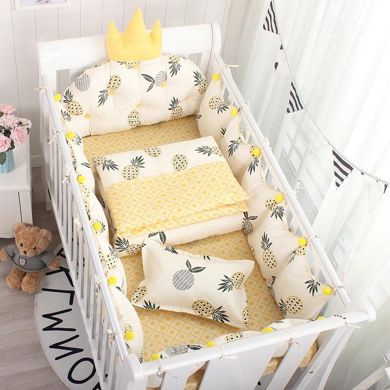 5Pcs Set Nordic Crown Cushion Wavy Dot Cot Bumper For Newborn Babies Cotton Bed Side Around Proctector Kids Bedroom Decoration