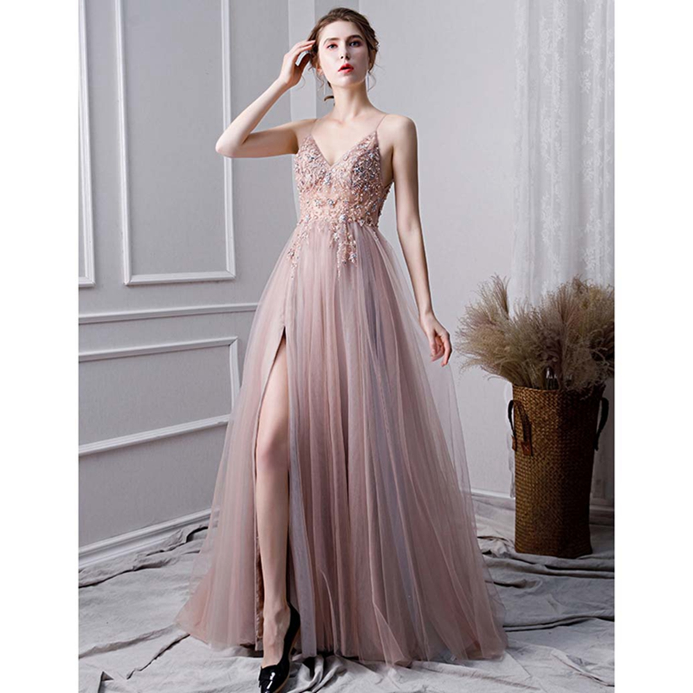 Pink Formal Party A-Line Split   Prom     Dresses   2019 Luxury Beaded Crystal Sleeveless Spaghetti Straps vestido de gala Evening Gowns