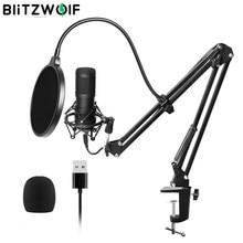 BlitzWolf-micrófono de condensador BW-CM2, Kit de sistema dinámico de Audio con USB, soporte Cantilever, juego de red antipulverización, grabación de sonido
