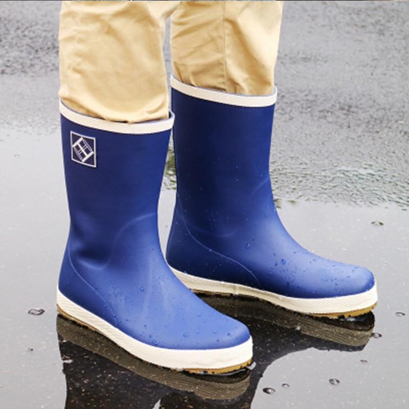 Rubber Rain Boots Men Water Shoes 2019 PVC Gummistiefel Rainboots Slip On Flat Anti-slip High Quality Plus Size 46 Botas Hombre