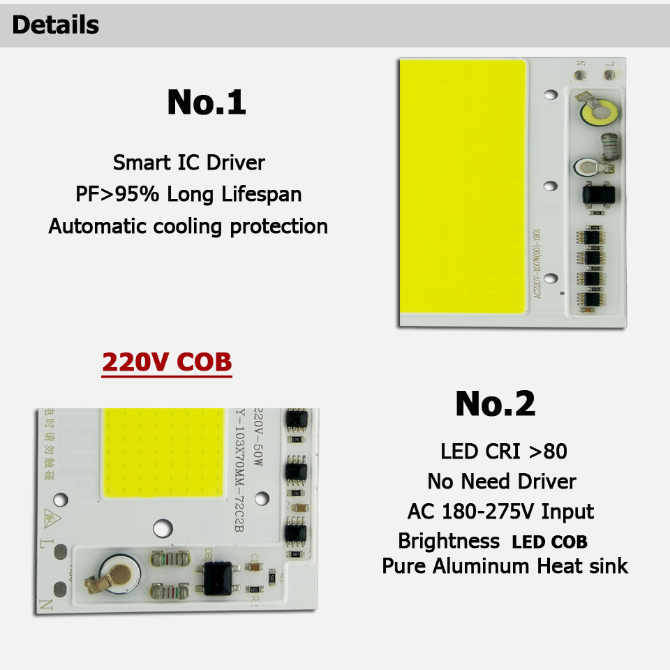 Image 2 - AC 220V LED COB 100W 136X115MM LED PCB Floodlight Module Aluminum plate White/Warm COB Chips Smart IC Driver For Spotlight Lamp-in Floodlights from Lights & Lighting