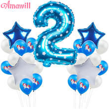 Amawill 2nd Birthday Balloons Latex Confetti Balloons Boy Girl Happy 2 Years Old Birthday Baby Shower Party Decor Kids Favors 7D(China)
