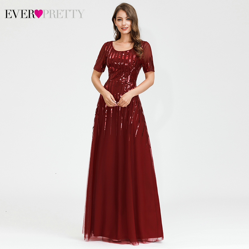 Elegant Burgundy Prom Dresses Ever Pretty Sequined Short Sleeve A-Line O-Neck Striped Tulle Sparkle Evening Party Gowns 2020