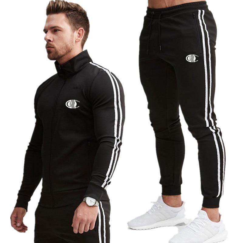 Striped Men's Sportswear Sets 2020 Spring Autumn Hooded Print Male Casual Tracksuit Men 2 Piece Sweatshirt + Sweatpants Set