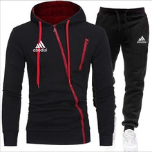 2021 Spring and Autumn Men's Hoodie Set Zipper Trend Hoodie Set Cotton + Polyester Jogging Long Sweatpants