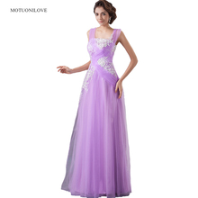 Lilac Long Evening Dresses Gowns Robe De Soiree 2019 High Quality Tulle With Applique Beaded Real Photo Vestido Festa