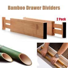 2 szt Bambusowe dzielniki do szuflad rozszerzalne organizery szuflad z odpornymi na zarysowania krawędziami z pianki Eva organizery szuflad separatory tanie tanio Szuflady magazynowe JJ195021 Ekologiczne Zaopatrzony Bamboo Rozmaitości From 45 cm to 56 cm Drawer Dividers
