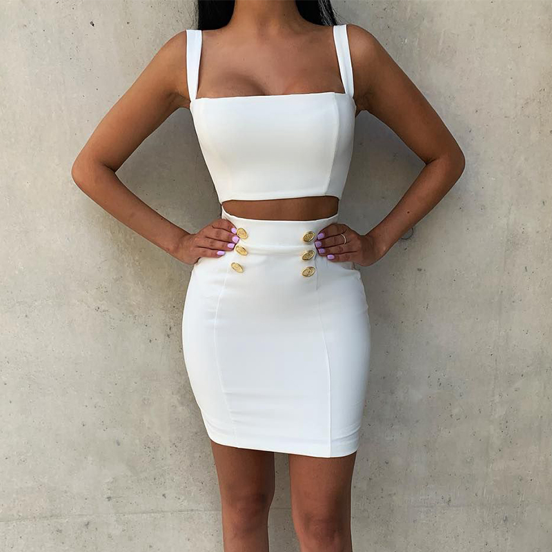 Ocstrade Summer 2 Piece Bandage Dress 2019 New Airrival Women Rayon White Bandage Dress Bodycon Mini Sexy Two Piece Set Outfit