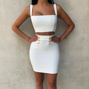 Image 1 - Ocstrade robe à bandes 2 pièces, style Airrival, robe moulante, blanche, rayonne, ensemble deux pièces, Mini, Sexy, été 2019