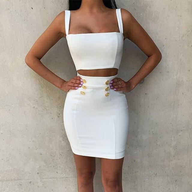 Ocstrade robe à bandes 2 pièces, style Airrival, robe moulante, blanche, rayonne, ensemble deux pièces, Mini, Sexy, été 2019