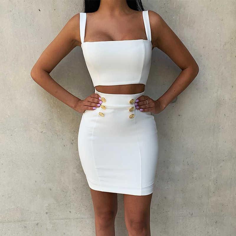 Ocstrade été 2 pièces robe de pansement 2019 nouveau Airrival femmes rayonne blanc robe de pansement moulante Mini Sexy deux pièces ensemble tenue