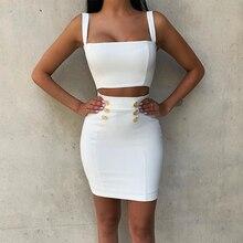 Ocstrade vestido Bandage de 2 piezas para mujer, vestido Bandage de rayón blanco, minivestido ajustado Sexy, conjunto de dos piezas 2019
