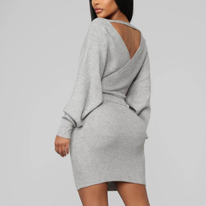 Image 4 - Thereadict White Knitted Suit Two Piece Set Crop Top And Skirt Autumn Winter Sweater 2 Piece Set Women V Neck Female Outfits