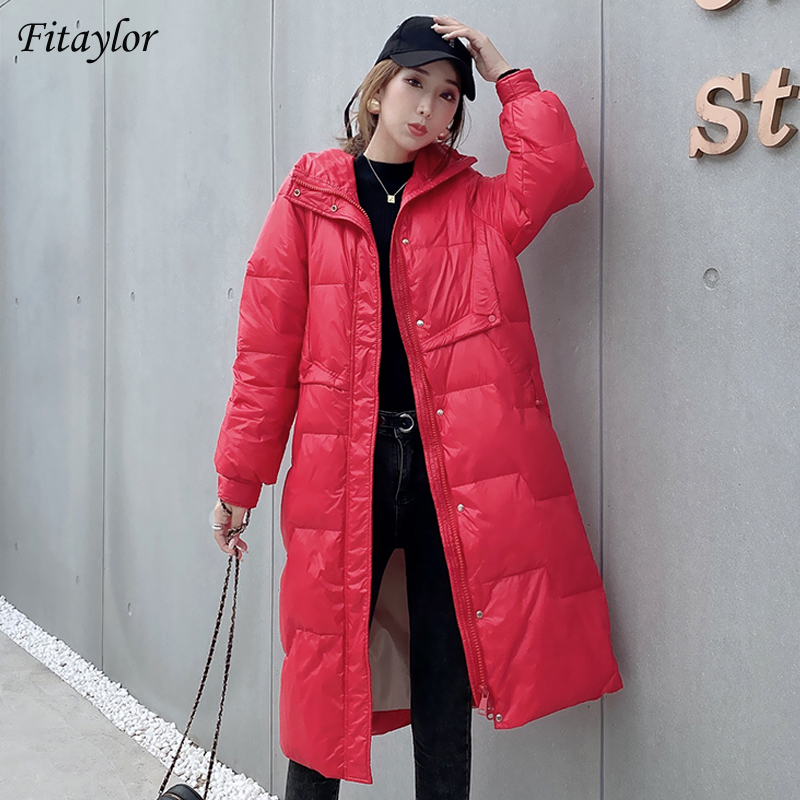 Fitaylor New Winter Long Jacket Loose Women Thick Warm 90% White Duck Down Parka Stand Collar Windproof Yellow Snow Coat Outwear
