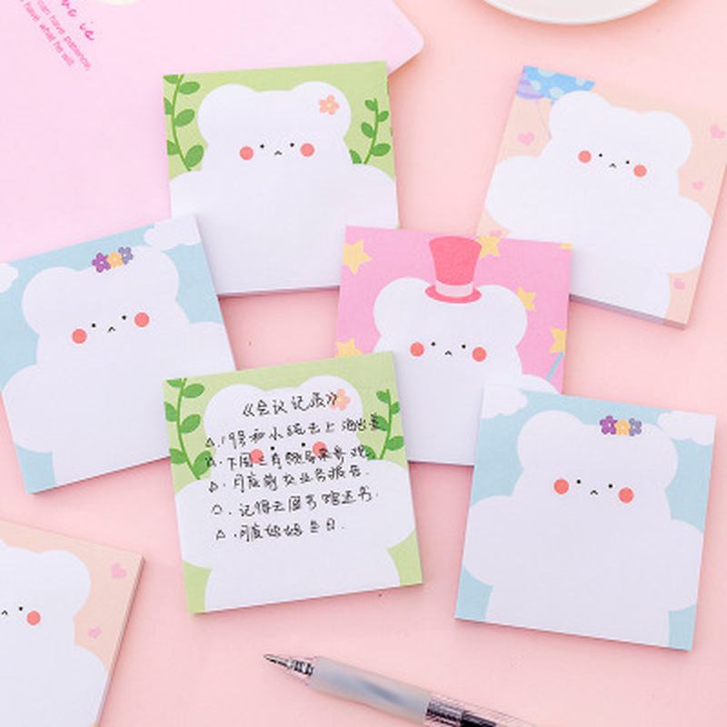 1pcs Little White Bear Sticky Notes Student Cute Memo Sheets Novelty Stationery Sticky Notes Cartoon Sticker School Supplies