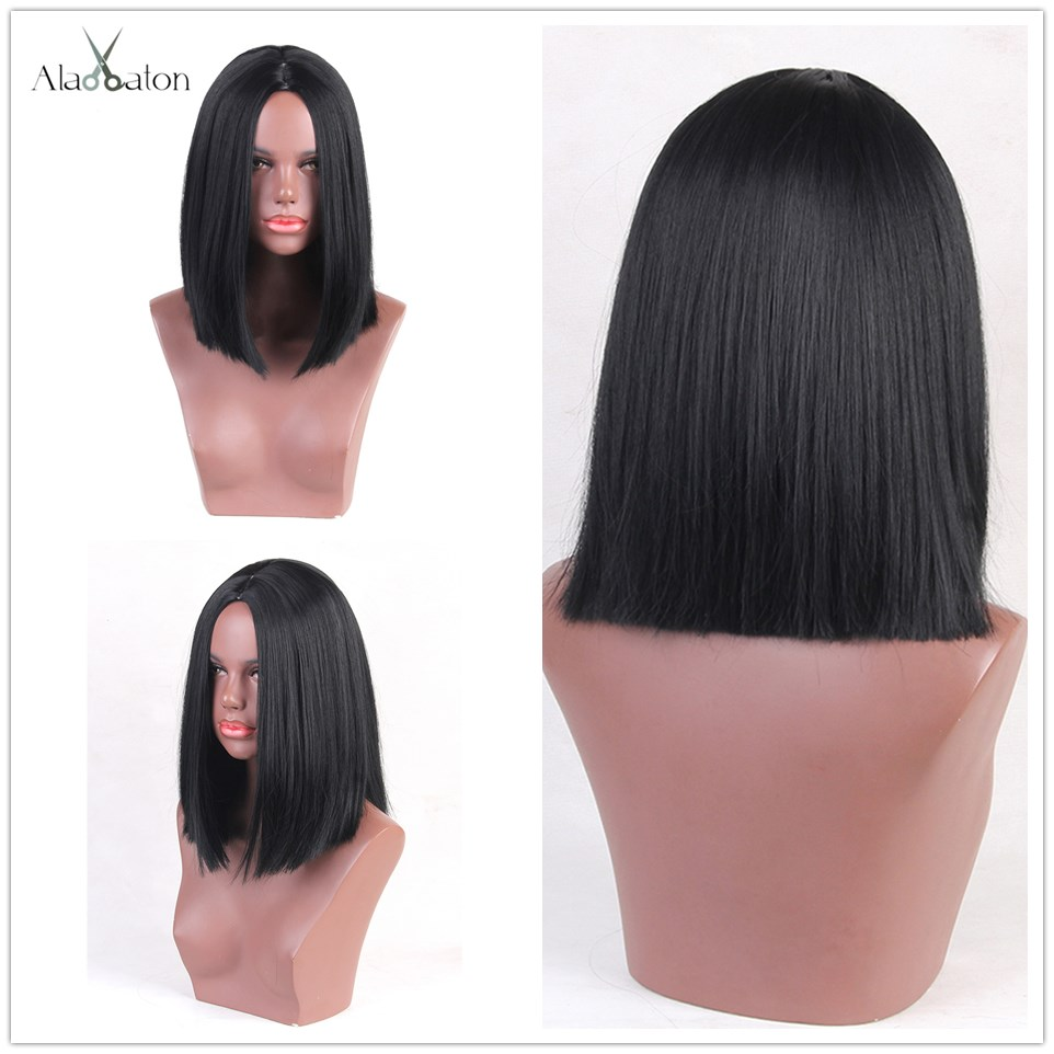 Image 5 - ALAN EATON Short Straight Ombre Black Brown Honey Bob Wigs for Black Women Afro Side Part Heat Resistant Cosplay Bobo WigsSynthetic None-Lace  Wigs   -