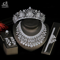 ASNORA Luxury Crystal Jewelry Set, Wedding Hair Accessories, Bridal Crown Earrings, Necklaces, Wedding Jewelry Accessories
