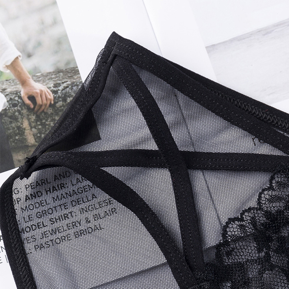 Fashion Women Sexy Black Lace Panties Hollow Out Transparent Panties Low Waist Thin Mesh Seamless Briefs Cotton Crotch Lingerie