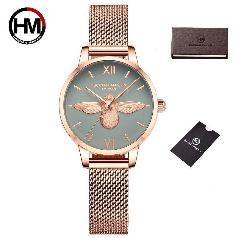 Hannah Martin Women Watches Bracelet Watch Stainless Steel Ladies Waterproof Rose Gold Wrist Watch Women Luxury Gift