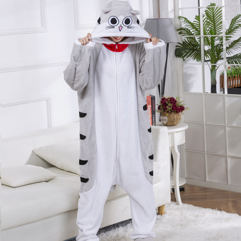 Double Zippers Cheese Cat Onesies For Adult Cartoon Kigurumi Pajamas For Women Men One-Piece Pijamas Funny Halloween Costume