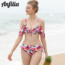 Anfilia Women Bikini Set Floral Print Ruffle Swimsuit Bandage Tied From Swimwear Sexy Beachwear