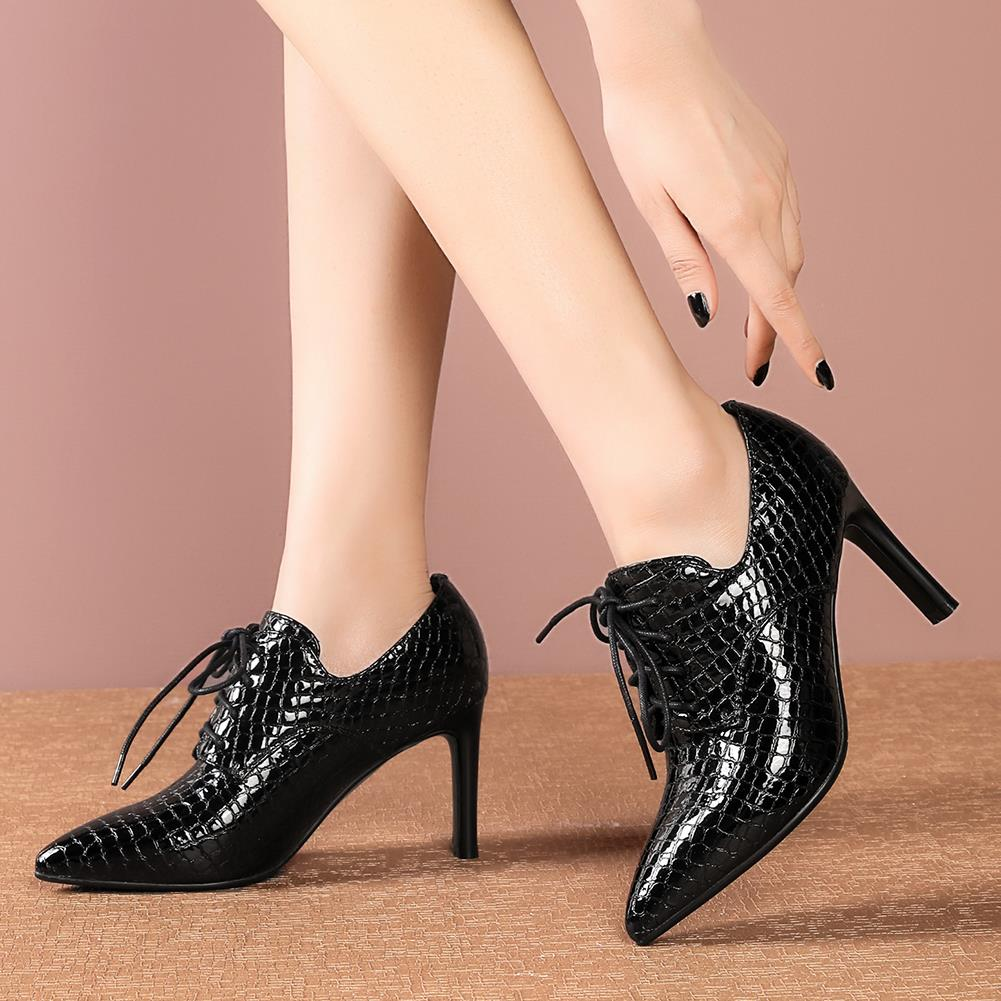 RIBETRINI Female Spring Office Fashion Fretwork Dress Shoes Woman Pointed Toe Patent Leather Pumps Women High Heels Pumps