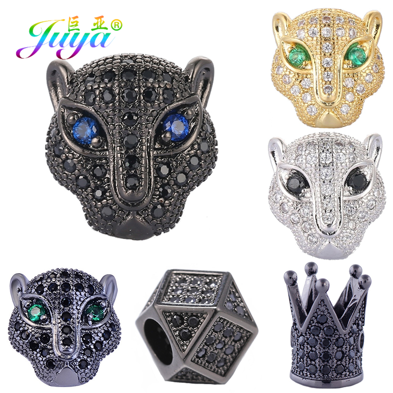 Juya diy leão pantera tigre cabeça de leopardo contas aaa zircão cobre animal charme contas para pedras naturais beadwork jóias fazendo