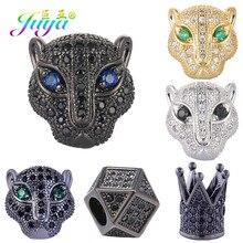 Juya bricolage perles de Lion panthère, tête de léopard, Zircon AAA, cuivre, pour pierres naturelles, fabrication de bijoux