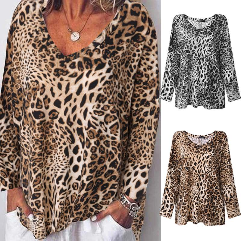 ZANZEA Women Leopard Print Shirt Casual Sexy V Neck Blouse Autumn Long Sleeve Tops Blusas Tunic Tops Ladies Shirts Plus Size 5XL