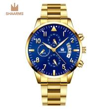 купить SHAARMS Mens Fashion Casual Business Wristwatch Stainless Steel Quartz Calendar Watches Gift For Men Uhren Herren Dropshipping по цене 325 рублей