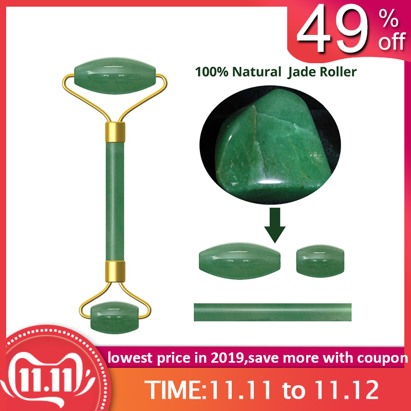 Natural Facial Beauty Massage Tool Jade Roller Stone Face Lifting Tool Real Jade Facial Roller Green Jade Stone Face Slimming