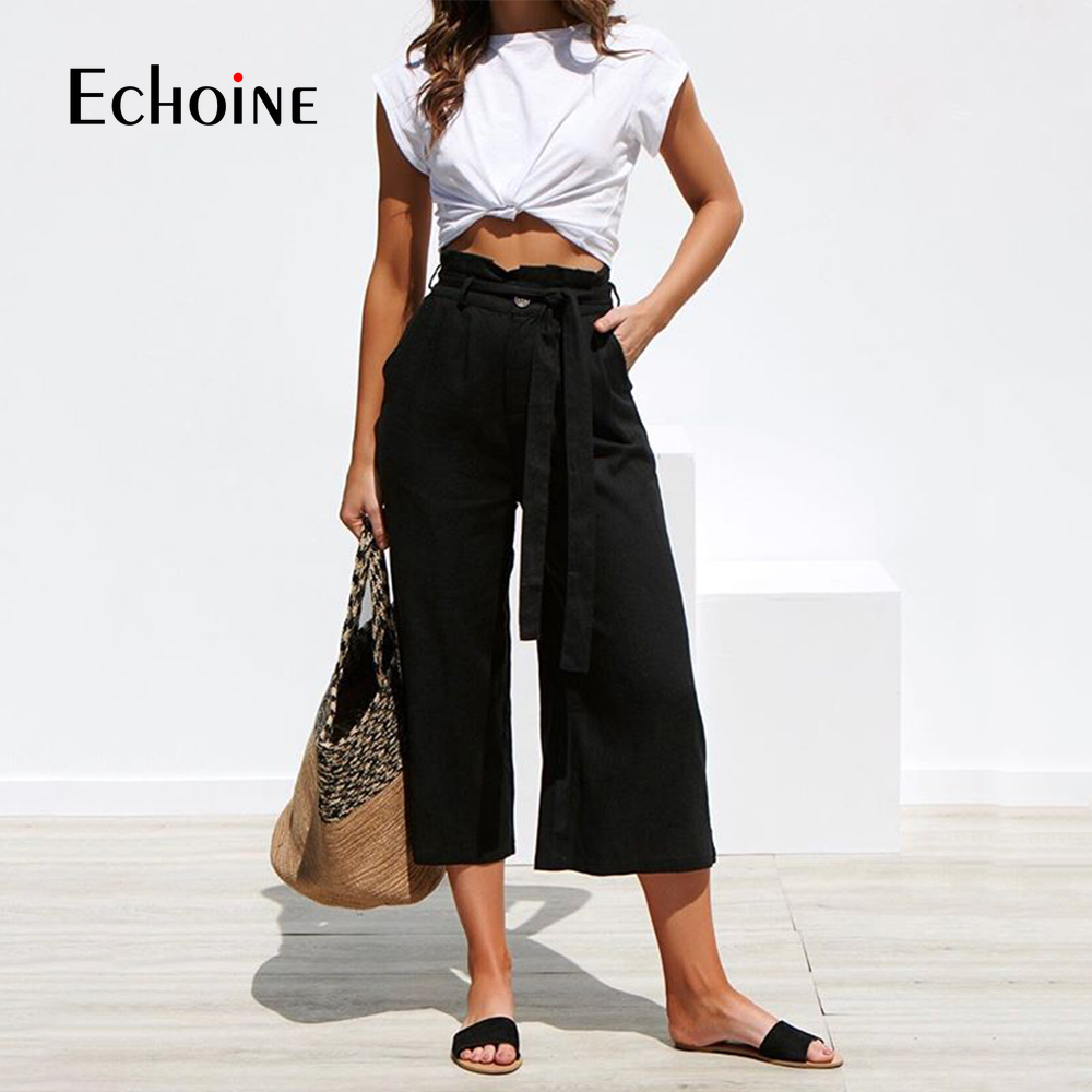 Closeout DealsLeg-Pants Palazzo-Trousers Office-Band Loose Cotton Linen Black Autumn Female High-Waist