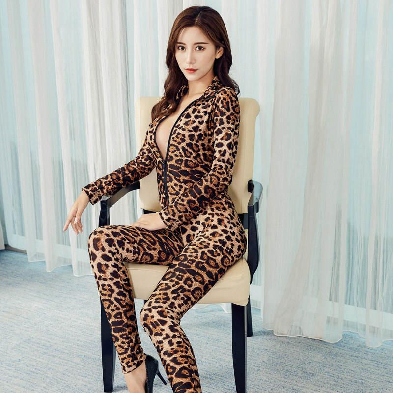 2020 XS-8XL Women Black Striped Sheer Bodysuit Smooth Fiber 2 Zipper Long Sleeve Jumpsuit 8