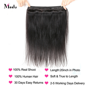 Image 4 - Meetu מלזי ישר שיער חבילות צבע טבעי 100% שיער טבעי Weave חבילות ללא רמי שיער תוספות לקנות 3 או 4 חבילות