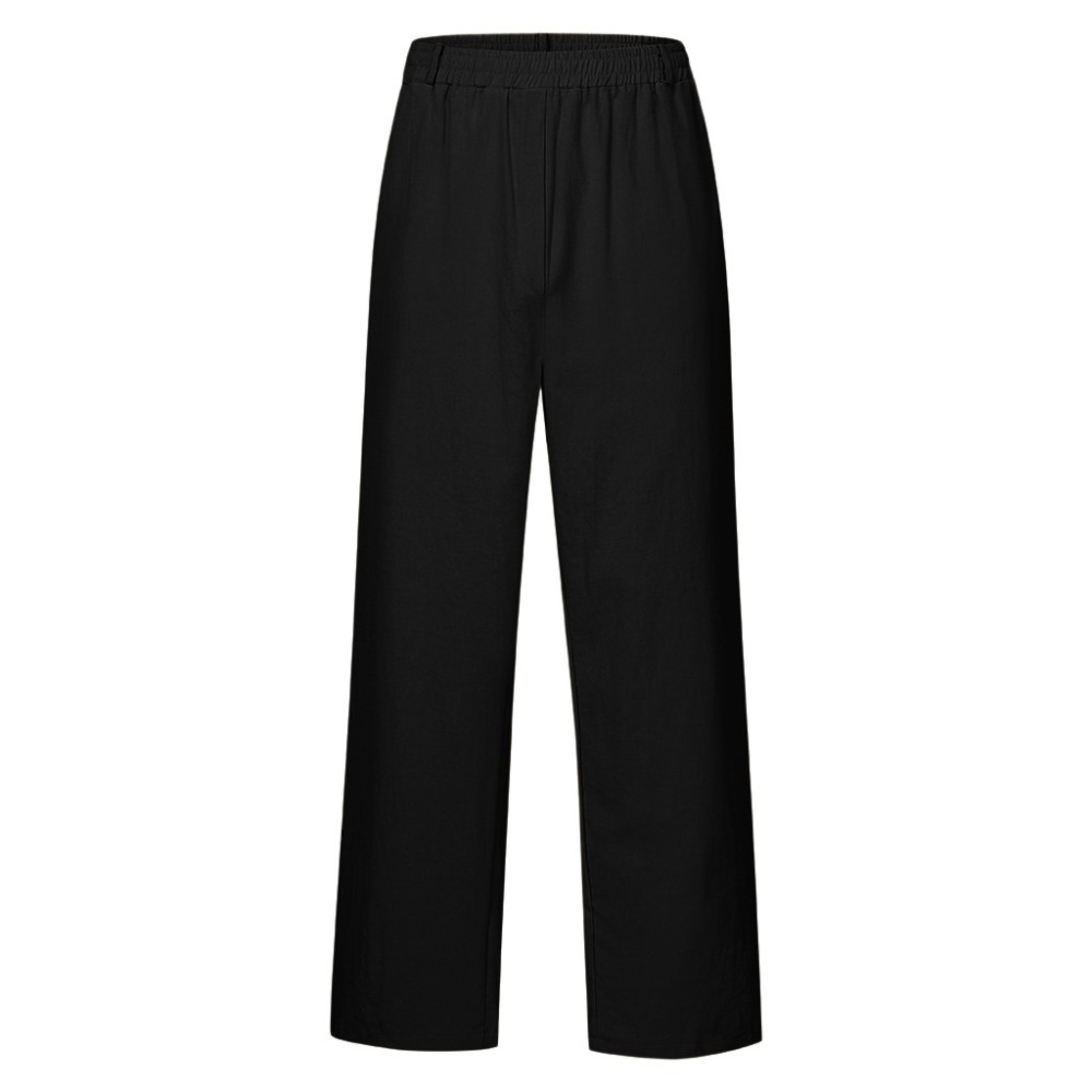 Hfd93c5026fa3430d890eaf6cad5620fdB Feitong Fashion Cotton Linen Pants Men Casual Work Solid White Elastic Waist Streetwear Long Pants Trousers