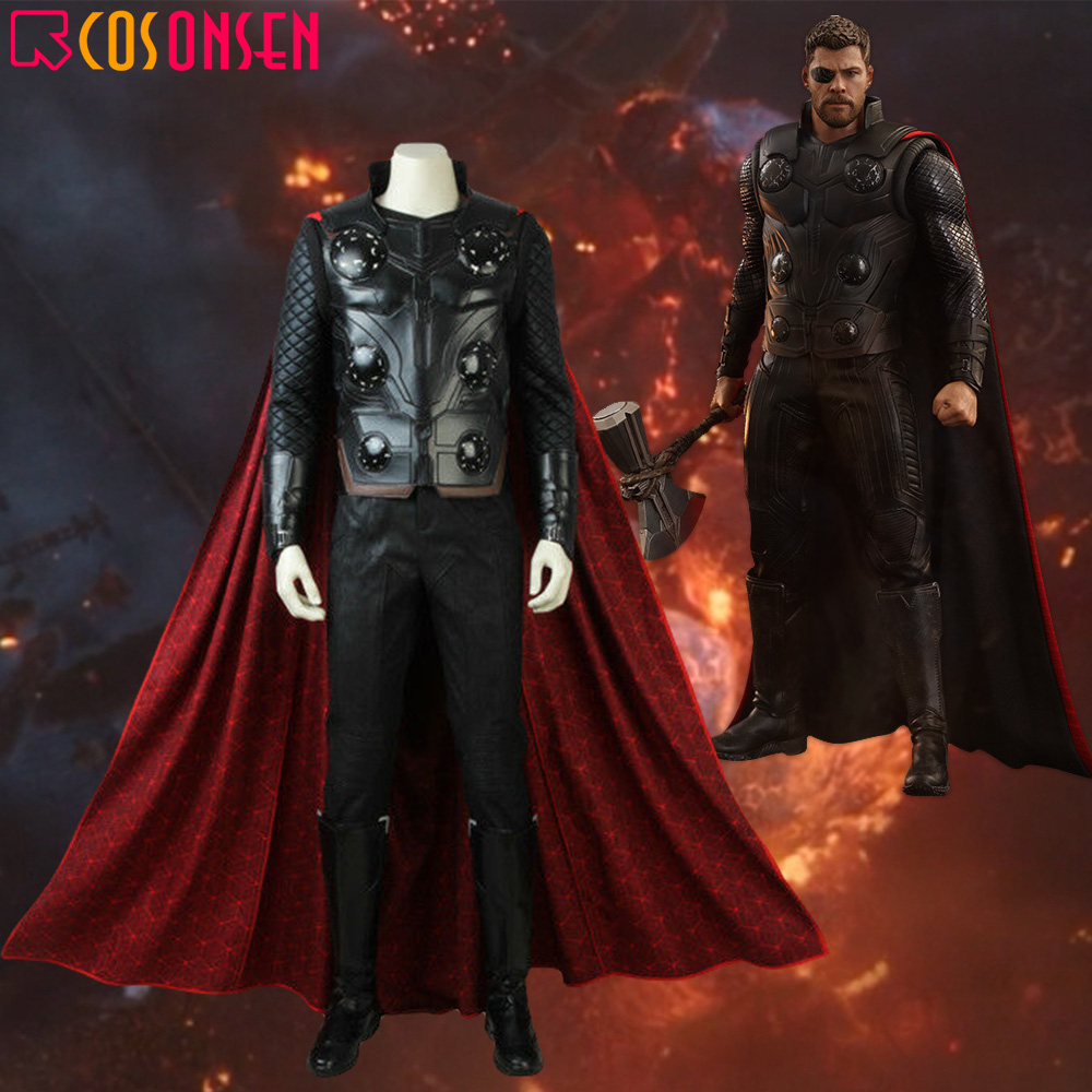 Avengers Infinity War Thor Cosplay Costume Halloween Superhero Avengers Thor Outfit Black Armor Adult Vest COSPLAYONSEN