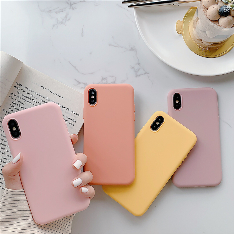 Ultra Thin Stylish Color Candy Case For iPhone 11 Pro X XR XS MAX 7 8 6 Plus Cute Colorful Matte Silicone soft TPU Cover Coque
