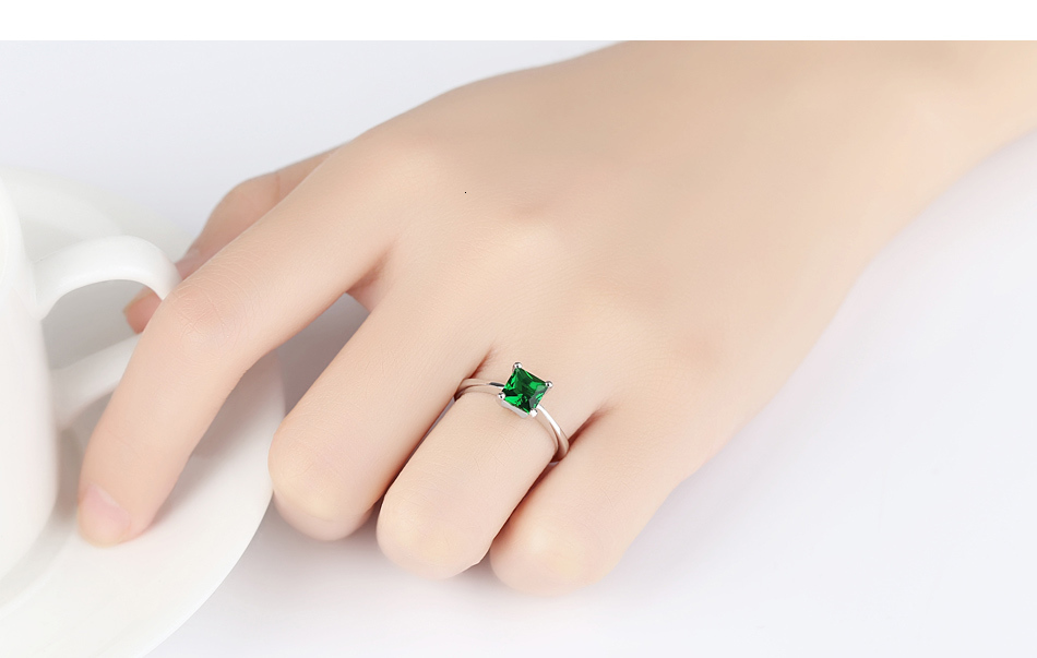 CZCITY Emerald Simple Female Zircon Stone Finger Ring 925 Sterling Silver Women Jewelry Prom Wedding Engagement Rings Brand Gift Hfd9403dc174b4826b0d886cee76450b6m ring
