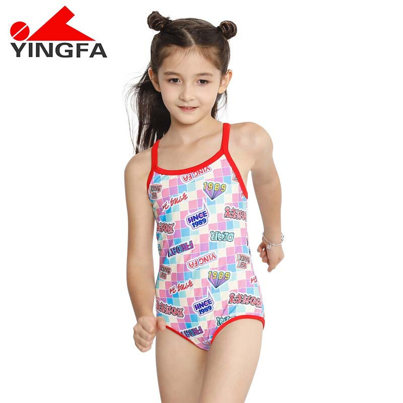 Yingfa KID'S Swimwear Girls One-piece Triangular Cute Comfortable Big Kid Beach Camisole Little Girl Tour Bathing Suit 0367
