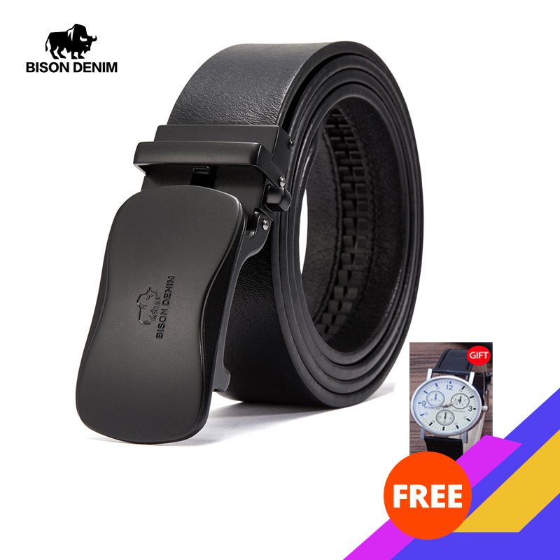 BISON DENIM Luxury Leather Belt Men Automatic Buckle Genuine Leather Strap Brand Waistband Cowhide Belts For Men N71345
